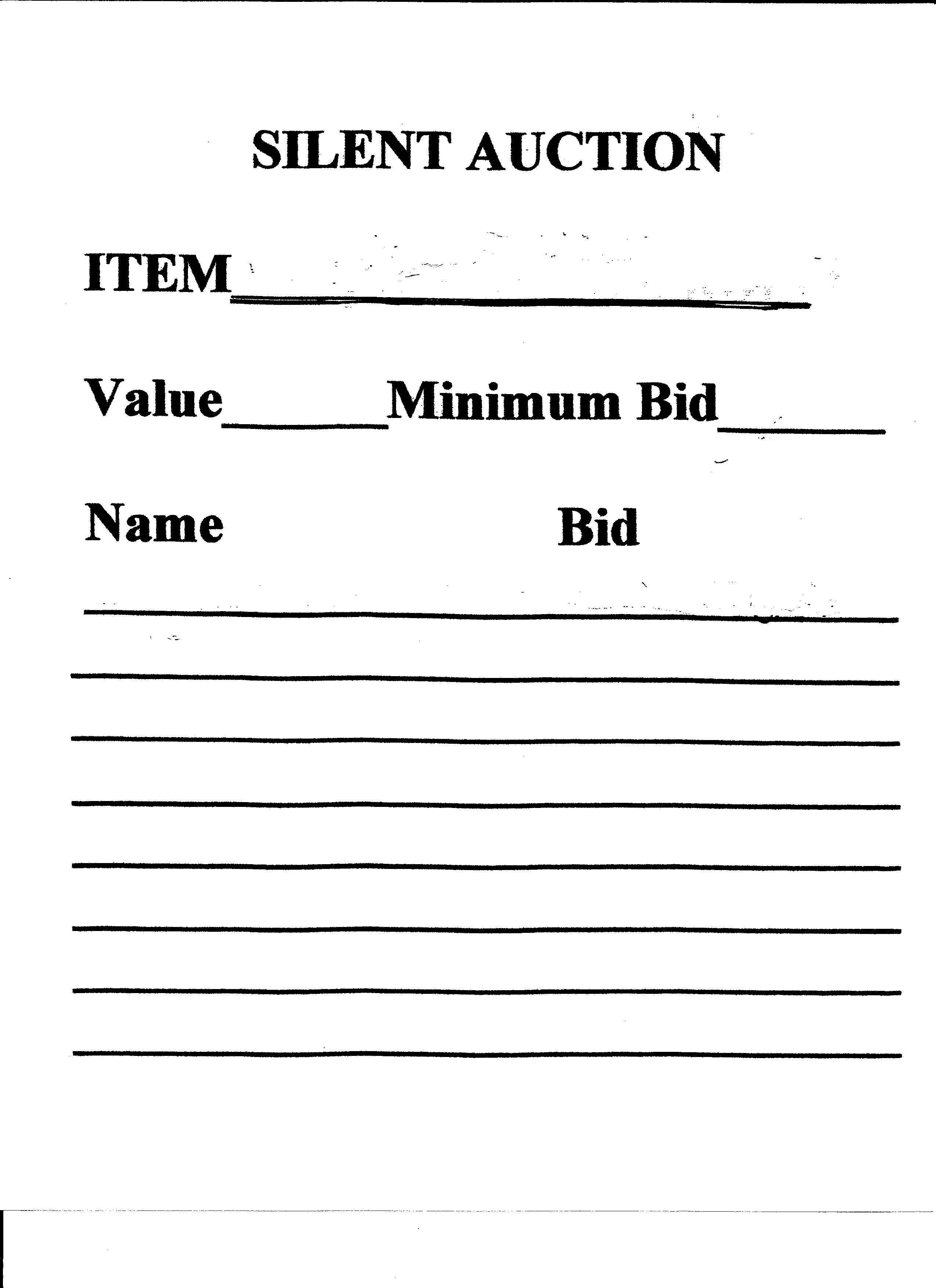 sample of silent auction bid sheet